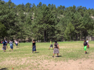 Young Women Playing Games at Youth Camp