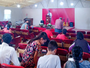 Services in the mission in La Junta